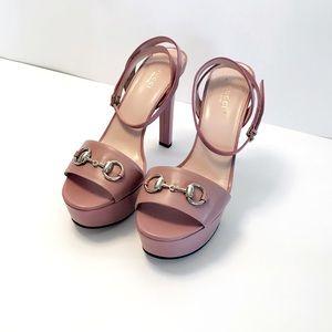 Gucci Horsebit Leather Platform Sandals, Rose